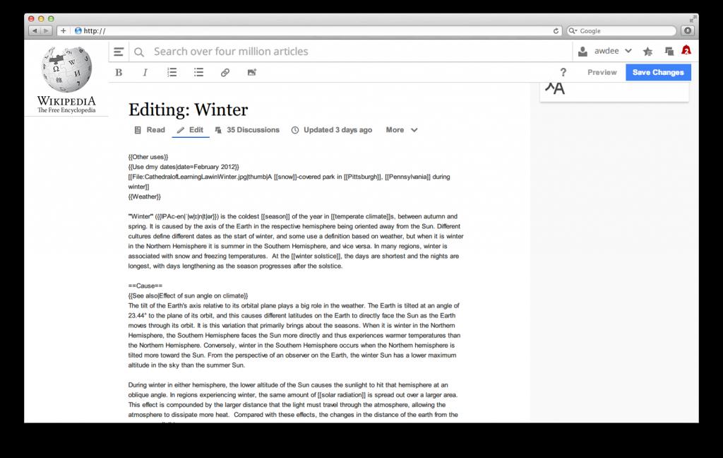 Новый дизайн Википедии