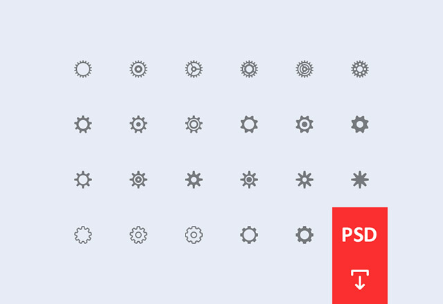 Cogwheel settings icons PSD