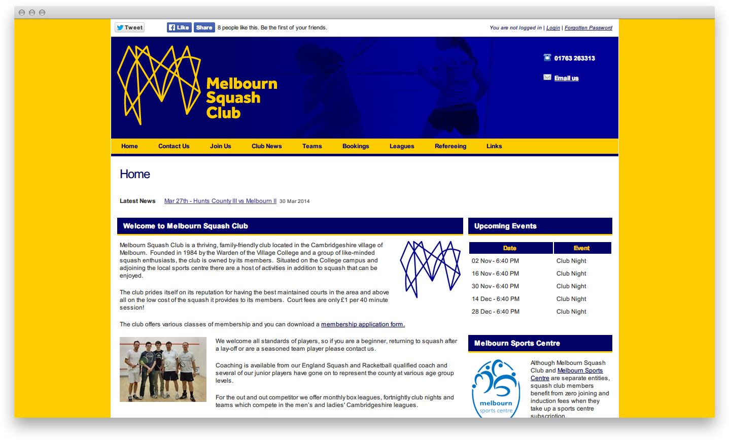 Логотип Мельбурнского Сквош Клуба на сайте