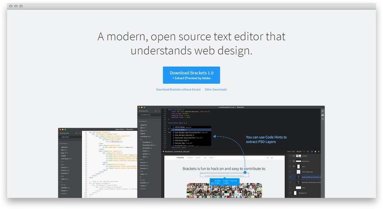 Brackets 1.0 — текстовый редактор от Адоби