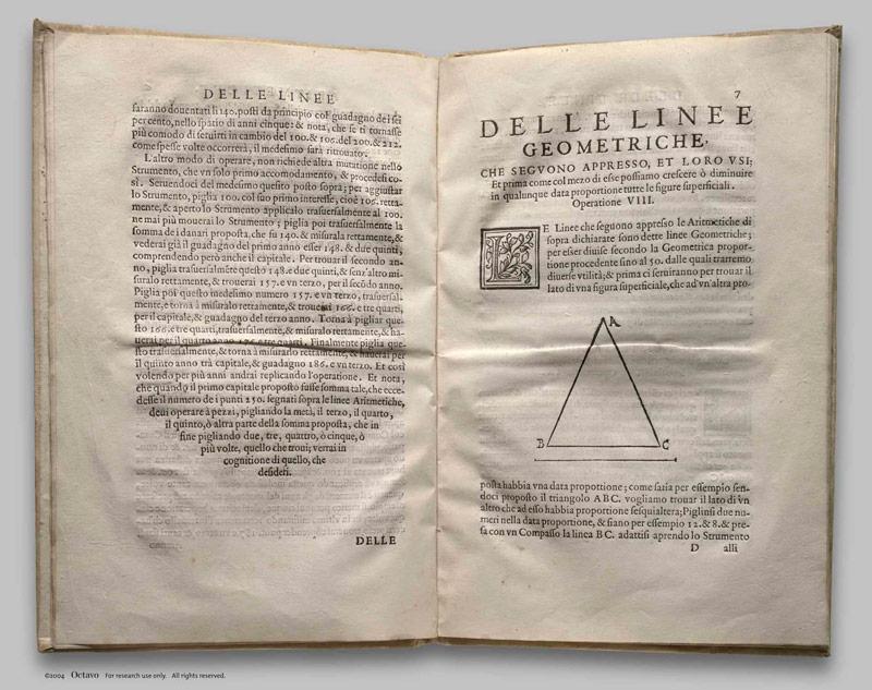 Разворот книги Галилео ГалилеяLe Operazioni del Compasso Geometrico et Militare. Венеция, 1606