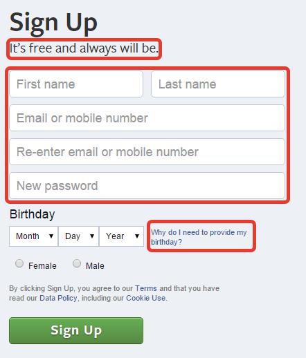 Форма регистрации Фейсбука
