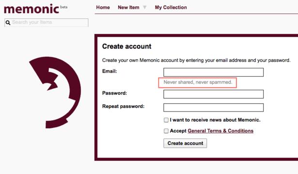 Форма регистрации в Memonic