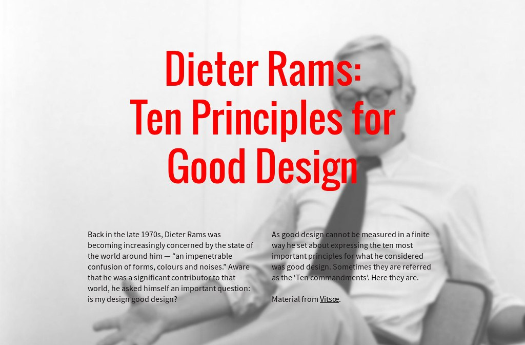 "iterature review ondieter rams 10 principles The first principle rams gave was that innovation is a principle of good design according to utterance and abernathy (1975), innovation is ""a new technology or combination of technologies introduced commercially to meet a user or a market need."