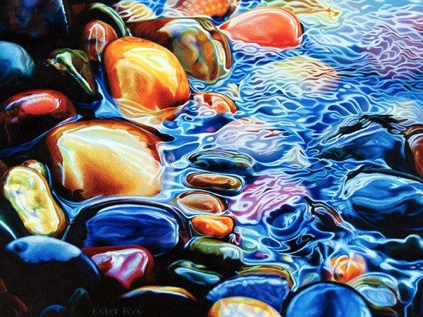 Вода нарисованная цветными карандашами